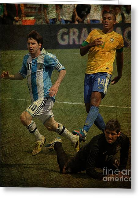 Liga Greeting Cards - Lionel Messi Breaking Raphael Cabrals Ankles II Greeting Card by Lee Dos Santos