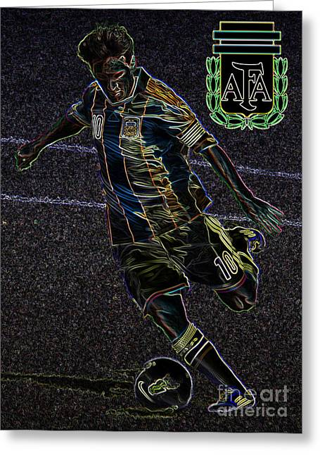 Givanildo Vieira De Souza Greeting Cards - Lionel Messi Kicking VIII Greeting Card by Lee Dos Santos