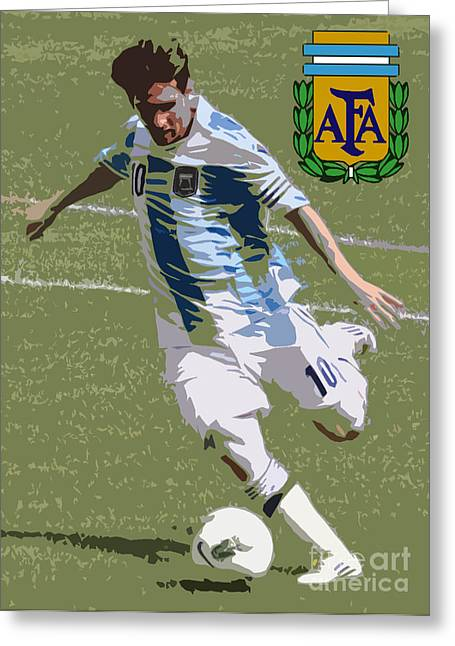 Liga Greeting Cards - Lionel Messi The Kick Art Deco Greeting Card by Lee Dos Santos