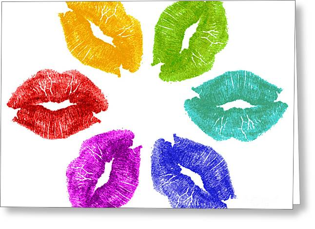 Lips Greeting Cards - Lipstick kisses in color Greeting Card by Blink Images