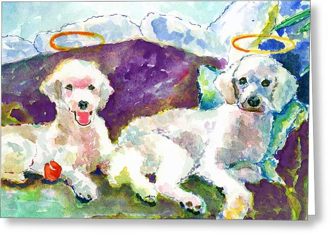 Little Angels Poodles Greeting Card by Marsden Burnell