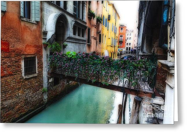 Old San Juan Greeting Cards - Little Bridge with Flowers Greeting Card by George Oze