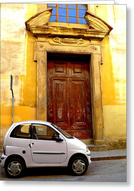 Italian Street Greeting Cards - Little Car of Florence Greeting Card by Jen White