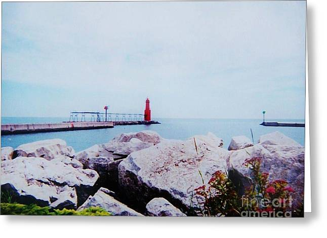 Little Red Lighthouse Greeting Card by Marsha Heiken
