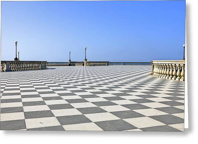 Checkerboard Greeting Cards - Livorno - Terrazza Mascagni Greeting Card by Joana Kruse