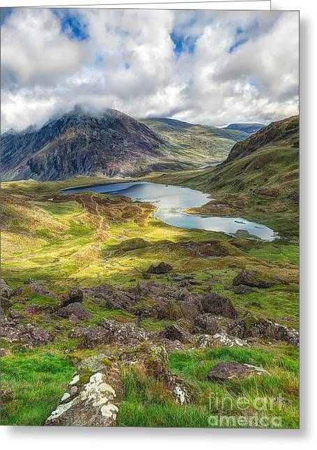 Reserve Greeting Cards - Llyn Idwal Lake Greeting Card by Adrian Evans