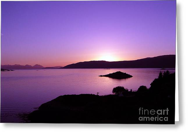 Caron Greeting Cards - Loch Caron Sunset Greeting Card by Elaine Jones