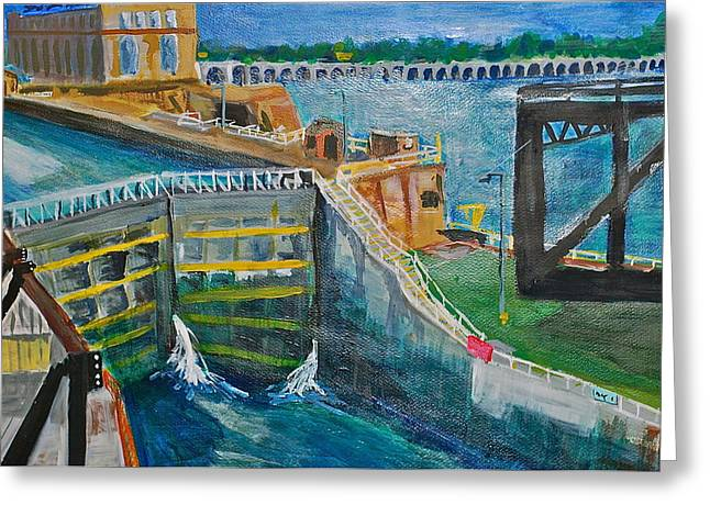 Jame Hayes Paintings Greeting Cards - Lock and Dam 19 Greeting Card by Jame Hayes