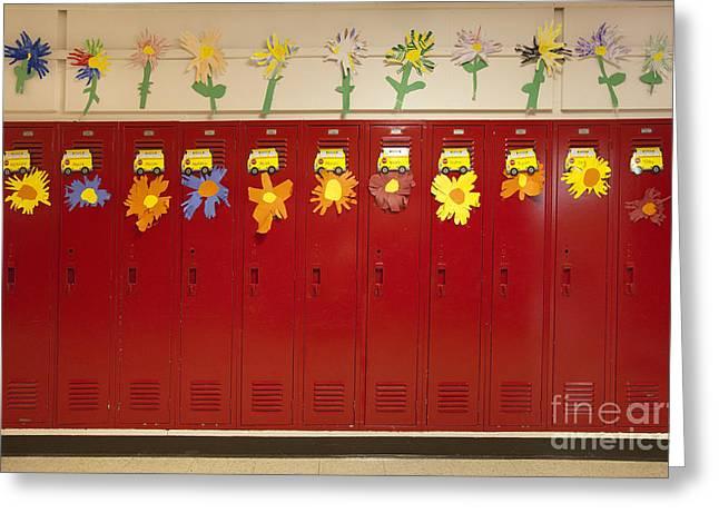 Public Schools Greeting Cards - Lockers In A School Hallway Greeting Card by Will & Deni McIntyre