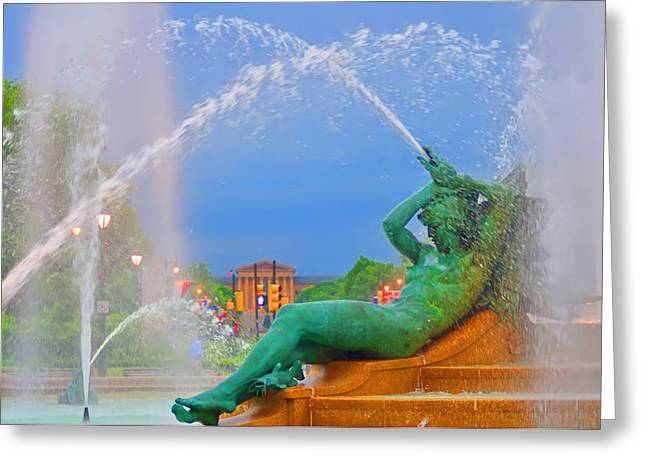 William Penn Digital Art Greeting Cards - Logan Circle Fountain 1 Greeting Card by Bill Cannon
