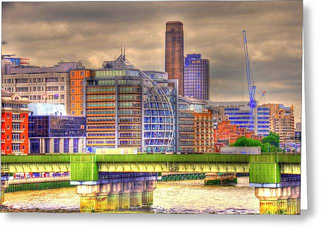 Village By The Sea Greeting Cards - London Greeting Card by Barry R Jones Jr