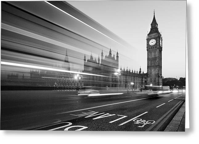 Nightshot Greeting Cards - London Big Ben Greeting Card by Nina Papiorek