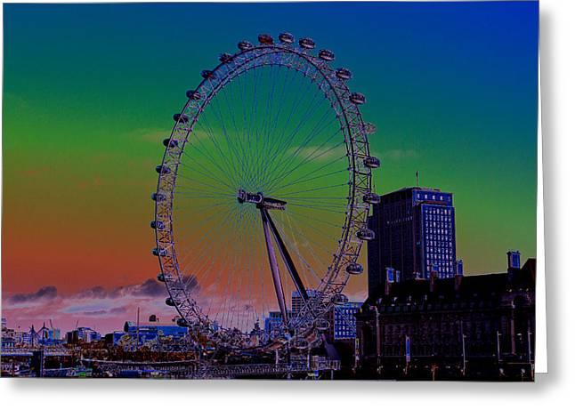 Rotate Greeting Cards - London Eye Digital Art Greeting Card by David Pyatt