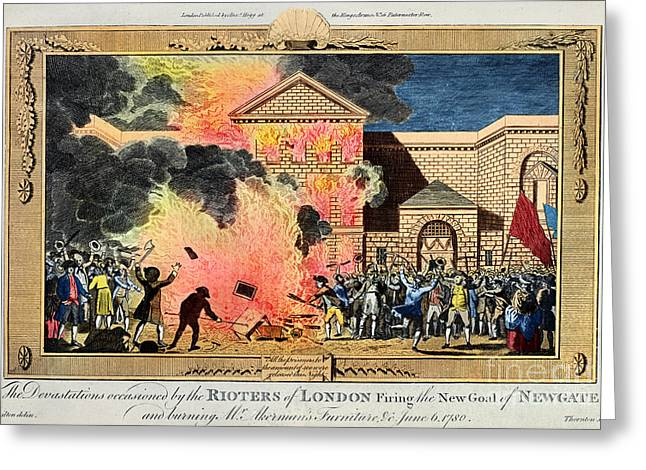 Protest Greeting Cards - London: Gordon Riots, 1780 Greeting Card by Granger