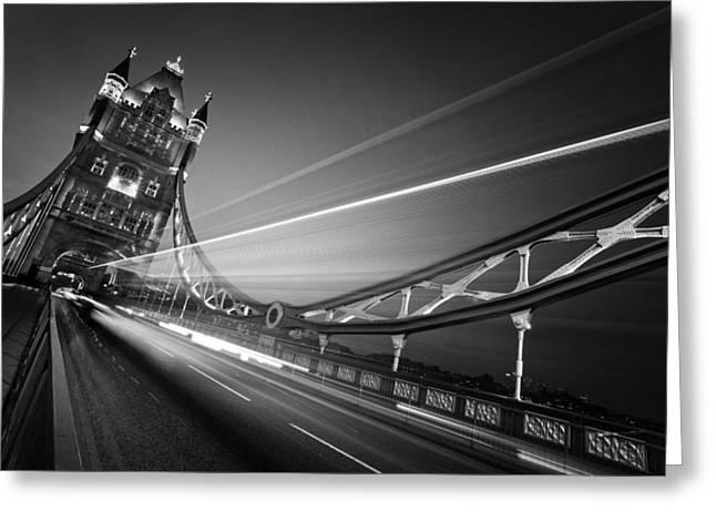 Nightshot Greeting Cards - London Tower Bridge Greeting Card by Nina Papiorek