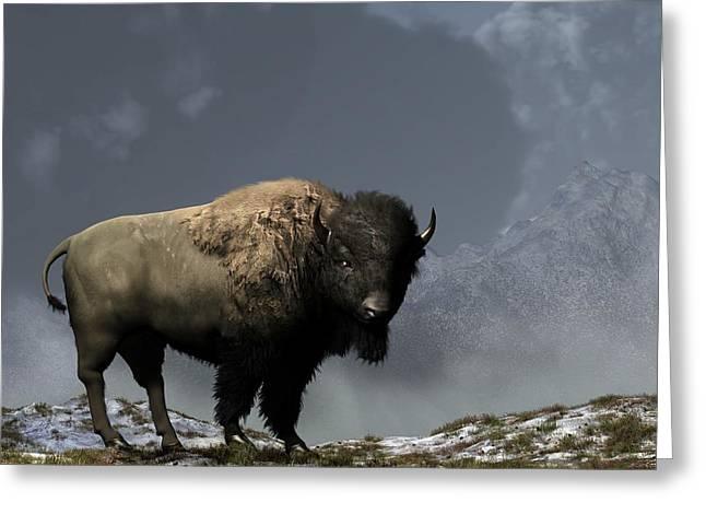 Western Themed Digital Art Greeting Cards - Lonely Bison Greeting Card by Daniel Eskridge