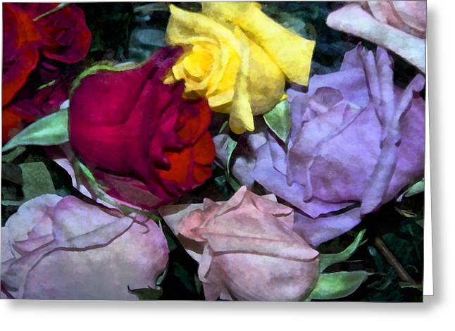 Multicolored Roses Greeting Cards - Look Of Romance Greeting Card by Angelina Vick