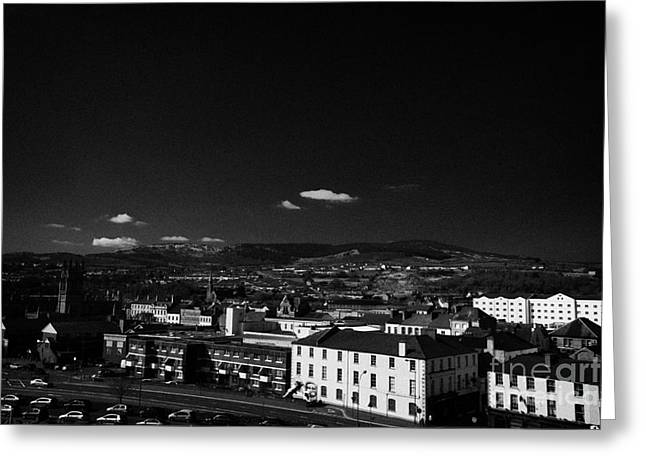 Gallows Greeting Cards - Looking down from gallows hill over Newry town centre county down northern ireland Greeting Card by Joe Fox