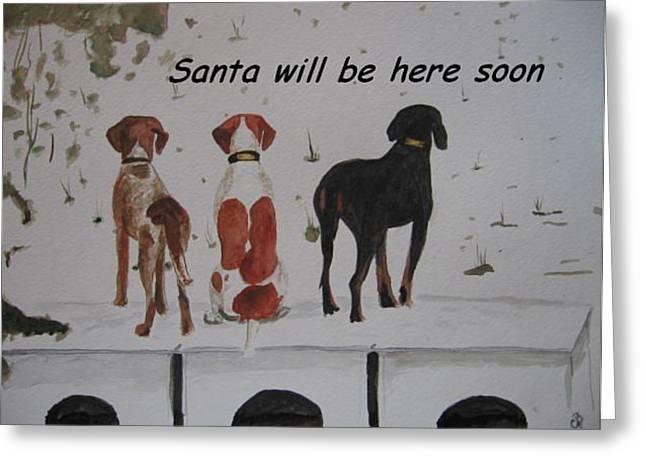 Card Greeting Cards - Looking for Santa Greeting Card by Carol Blackhurst