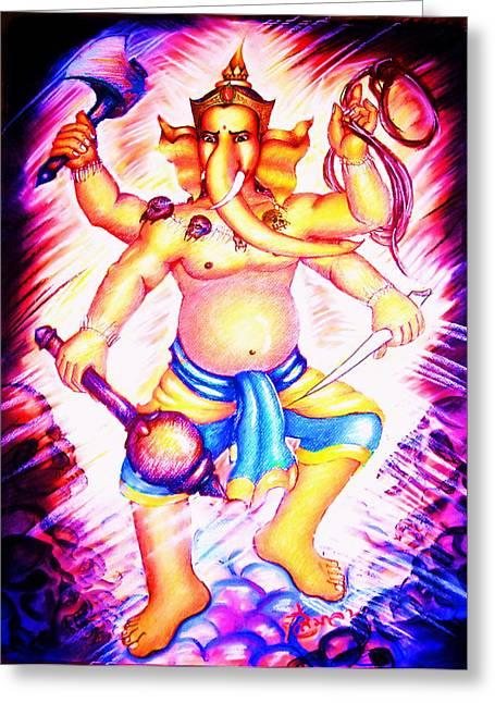 Heroes Pastels Greeting Cards - Lord Ganesha Greeting Card by Sri Mala