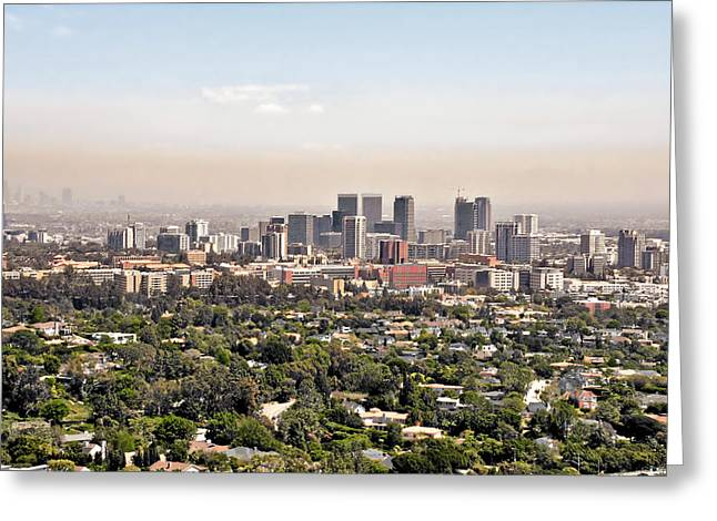 Hazy Days Greeting Cards - Los Angeles California - Glitter and Trouble Greeting Card by Christine Till