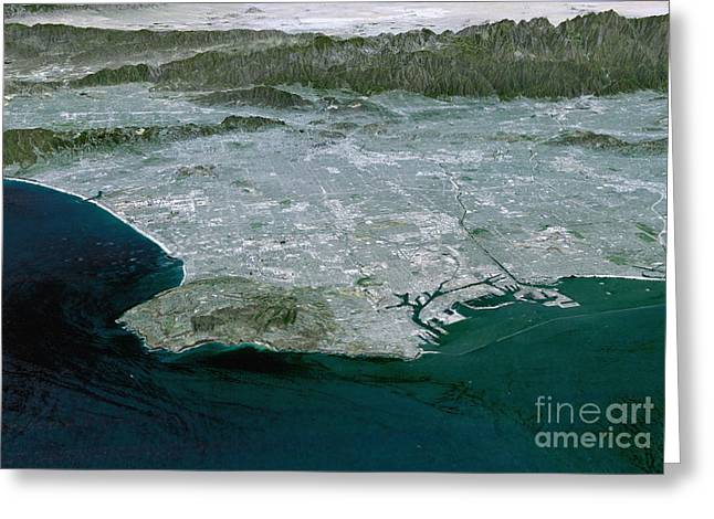 Digitally Generated Image Photographs Greeting Cards - Los Angeles, California Greeting Card by Stocktrek Images