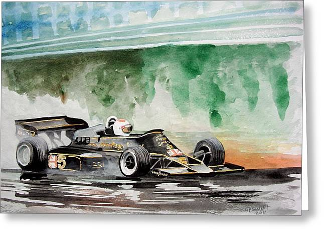Andretti Greeting Cards - Lotus F1 Mario Andretti Greeting Card by Gerald Swift