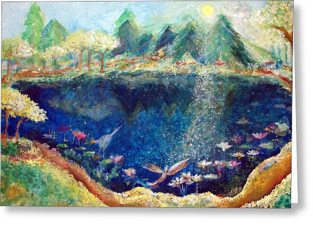 Dream Scape Paintings Greeting Cards - Lotus Lake Greeting Card by Ashleigh Dyan Bayer