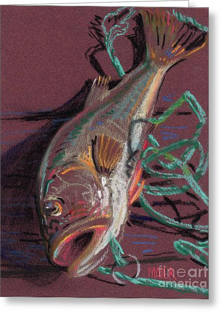 Bass Paintings Greeting Cards - Louies Catch Greeting Card by Donald Maier