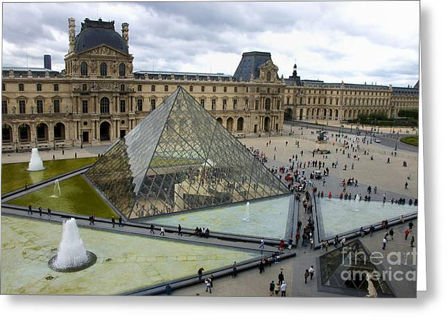 Glass Facades Greeting Cards - Louvre museum. Paris Greeting Card by Bernard Jaubert