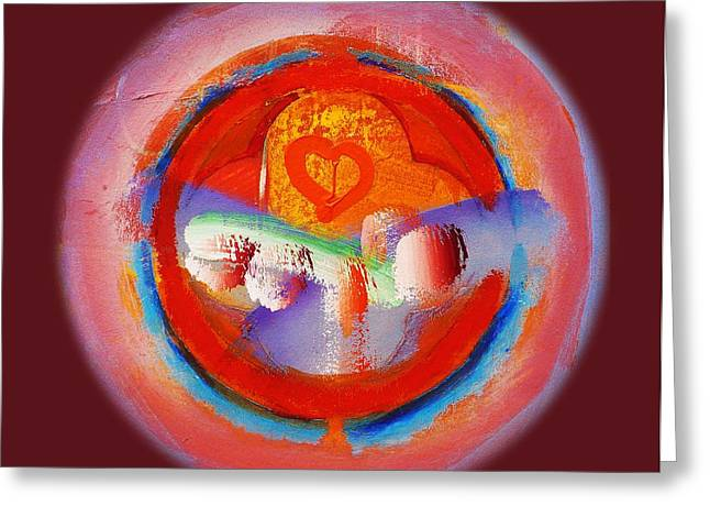 Abstract Forms Pastels Greeting Cards - Love Heart Greeting Card by Charles Stuart
