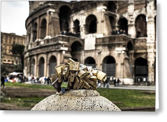 love locks in Rome Greeting Card by Joana Kruse