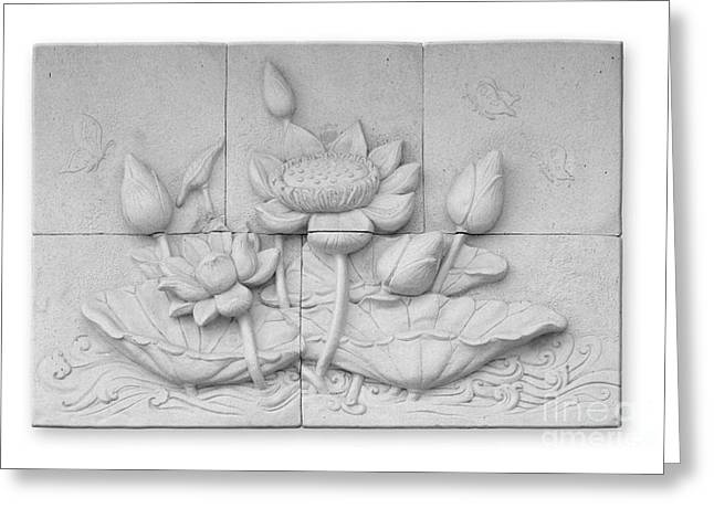Background Reliefs Greeting Cards - Low relief cement Thai style  Greeting Card by Phalakon Jaisangat