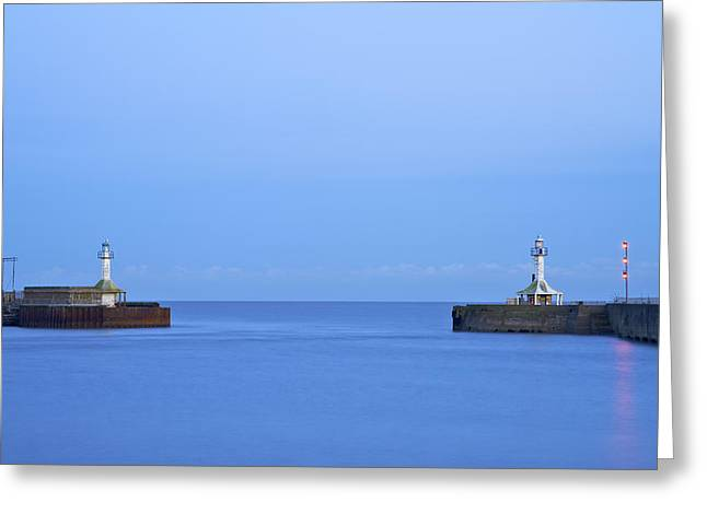 Summer Squall Greeting Cards - Lowestoft Harbour Lights Greeting Card by Michael Stretton