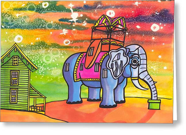 Elephants Greeting Cards - Lucy in the Sky with Diamonds Greeting Card by Christie Mealo