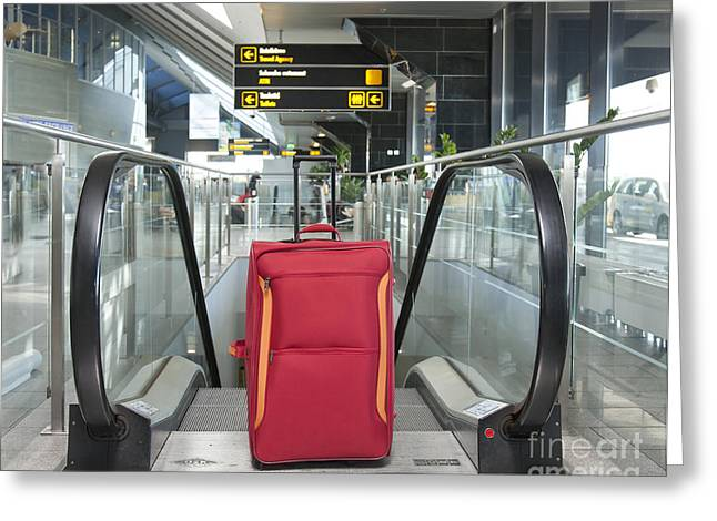 Rolling Luggage Greeting Cards - Luggage at the Top of an Escalator Greeting Card by Jaak Nilson