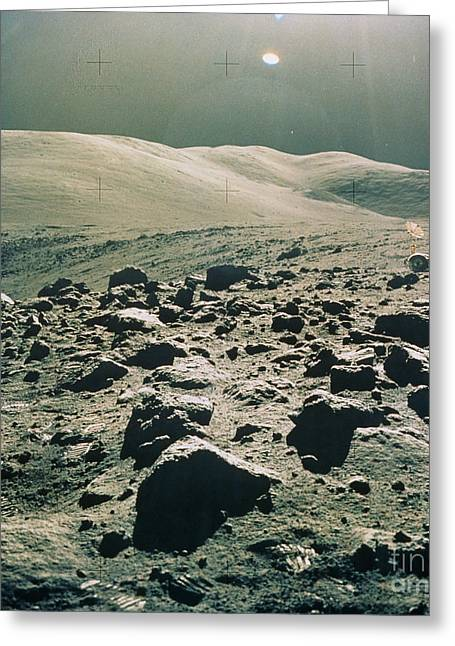 Roving Greeting Cards - Lunar Rover At Rim Of Camelot Crater Greeting Card by NASA / Science Source