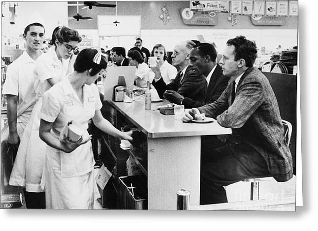 Segregated Greeting Cards - Lunch Counter Sit-in, 1960 Greeting Card by Granger