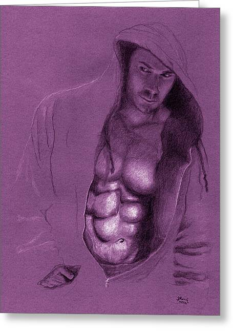 Hoodies Drawings Greeting Cards - Lurking Greeting Card by Mon Graffito