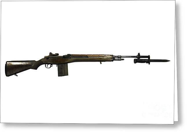 Bayonet Greeting Cards - M14 Rifle, Developed From The M1 Garand Greeting Card by Andrew Chittock