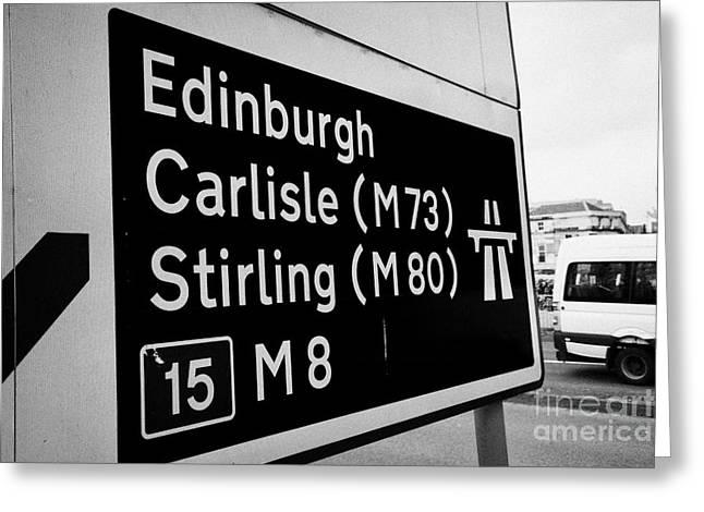 Motorway Greeting Cards - M8 motorway sign in Glasgow Scotland UK Greeting Card by Joe Fox