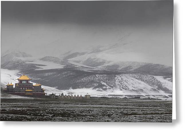 Winter Scenes Rural Scenes Greeting Cards - Machen Lhagong Monastery. A Newly Greeting Card by Phil Borges