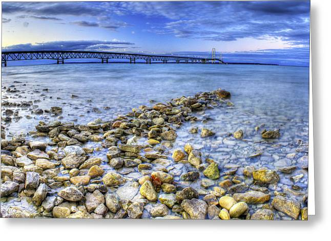 Evening Lights Greeting Cards - Mackinac Bridge from the Beach Greeting Card by Twenty Two North Photography