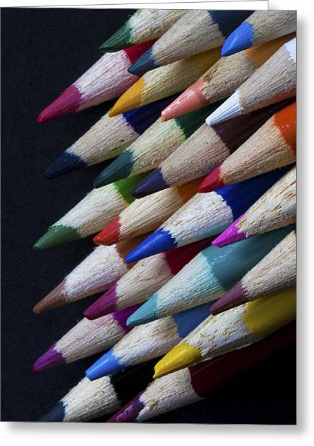 Colour Pencil Greeting Cards - Macro of Colour Pencils Greeting Card by Zoe Ferrie