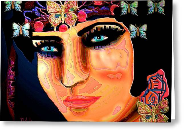 Chin Up Mixed Media Greeting Cards - Madame Butterfly Greeting Card by Natalie Holland
