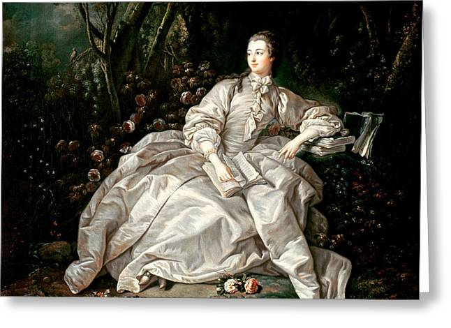 Full-length Portrait Paintings Greeting Cards - Madame de Pompadour Greeting Card by Francois Boucher