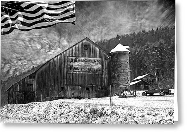 Winter Scenes Rural Scenes Greeting Cards - Made In America Greeting Card by John Stephens