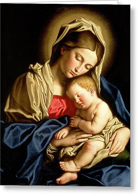Mom Paintings Greeting Cards - Madonna and Child Greeting Card by Il Sassoferrato