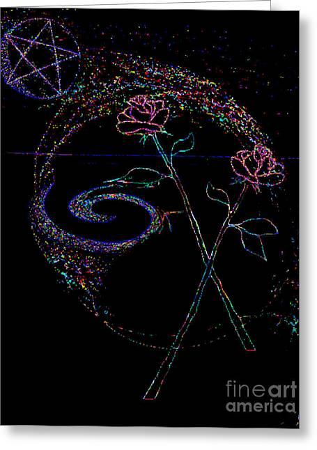Pentagram Art Greeting Cards - Magic of Roses Greeting Card by Catherine Geernaert