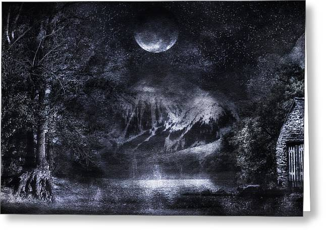 Forest At Night Greeting Cards - Magical Night Greeting Card by Svetlana Sewell